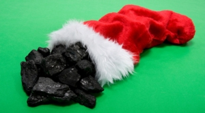 Christmas Stocking with coal